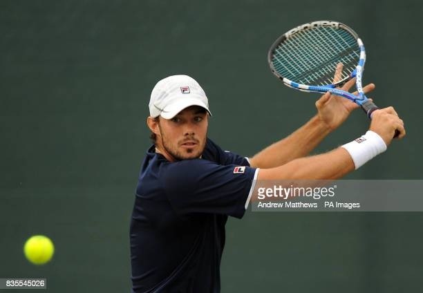 Great Britain's Chris Eaton in action against France's Adrian Mannarino during the Nottingham Open at the Nottingham Tennis Centre Nottingham