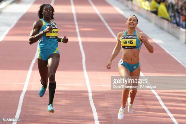 Great Britain's Christine Ohuruogu and Jessica Ennis in the Women's 150m during the 2010 BUPA Great CityGames in Manchester