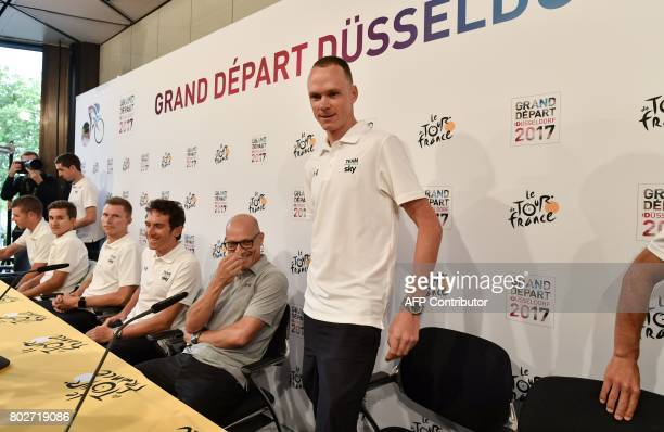 Great Britain's Christopher Froome arrives to take part in a press conference of the Great Britain's Sky cycling team with Sky manager Sir Dave...