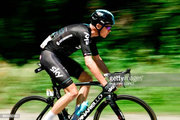 TOPSHOT Great Britain's Christopher Froome rides during the 168 km seventh stage of the 69th edition of the Criterium du Dauphine cycling race on...