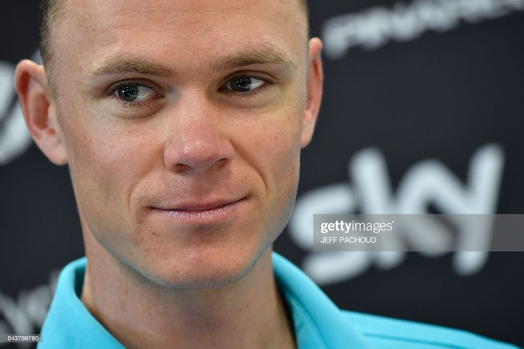 Great Britain's Christopher Froome takes part in a press conference of the Sky cycling team at his hotel in Port-en-Bessin-Huppain, Normandy, on July 30, 2016, two days before the start of the 103rd edition of the Tour de France cycling race. The 2016 Tour de France will start on July 2 in the streets of Le Mont-Saint-Michel and ends on July 24, 2016 down the Champs-Elysees in Paris. The 2016 Tour de France will start on July 2 in the streets of Le Mont-Saint-Michel and ends on July 24, 2016 down the Champs-Elysees in Paris. / AFP / jeff pachoud