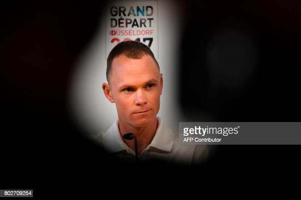 Great Britain's Christopher Froome takes part in a press conference of the Great Britain's Sky cycling team at the Congress center in Dusseldorf...