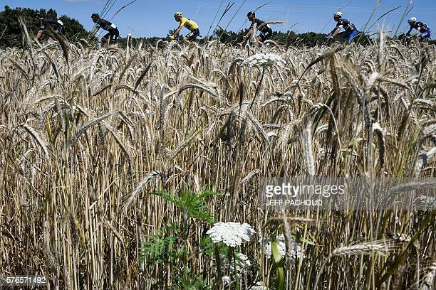TOPSHOT Great Britain's Christopher Froome wearing the overall leader's yellow jersey rides in the pack during the 2085 km fourteenth stage of the...