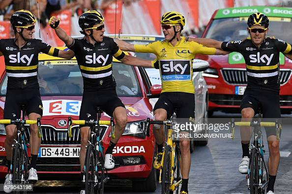 Great Britain's Christopher Froome wearing the overall leader's yellow jersey wins the Tour de France 2016 as he crosses the finish line on the...