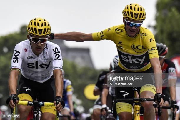 Great Britain's Christopher Froome wearing the overall leader's yellow jersey and Poland's Michal Kwiatkowski ride towards the finish line during the...