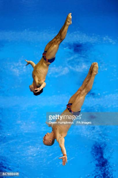 Great Britain's Christopher Mears and Nicholas Robinson Baker during the Men's 3m Springboard Synchro