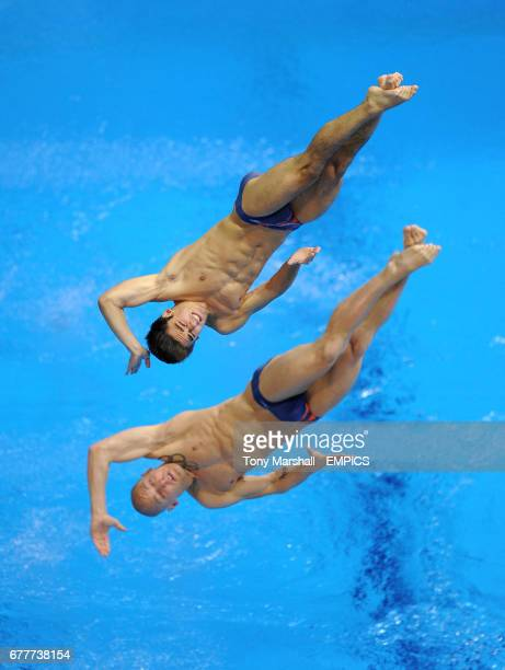 Great Britain's Christopher Mears and Nicholas Robinson Baker in action in the Men's Synchronised 3m Springboard preliminary competition