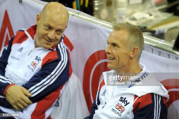 Great Britain's coaches Shane Sutton and Davie Brailsford talk during the UCI Track Cycling World Cup at the Sir Chris Hoy Velodrome in the Emirates...