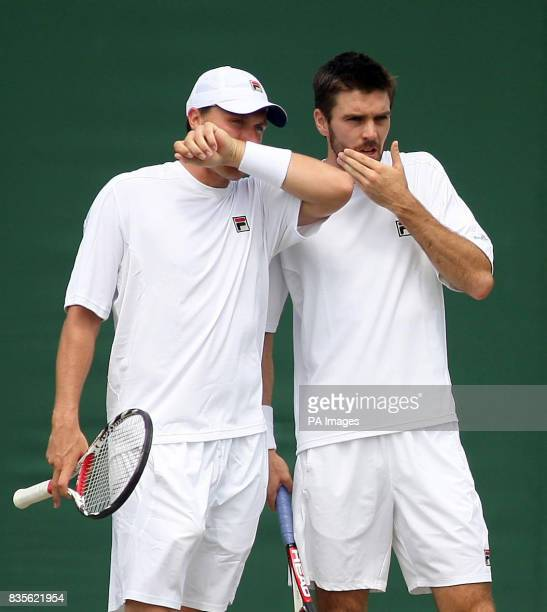 Great Britain's Colin Fleming and Kenneth Skupski in action during their mens doubles match during the 2009 Wimbledon Championships at the All...