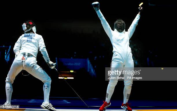 Great Britain's Corinna Lawrence celebrates her victory over Chile's Caterin Bravo Aranguiz in the Women's Epee Individual fencing at the Excel Arena...