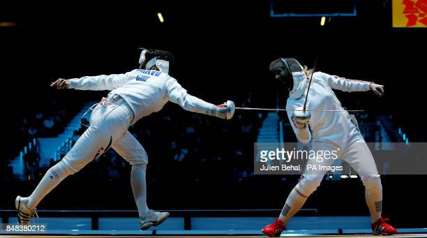 Great Britain's Corinna Lawrence in action against Chile's Caterin Bravo Aranguiz in the Women's Epee Individual fencing at the Excel Arena London on...