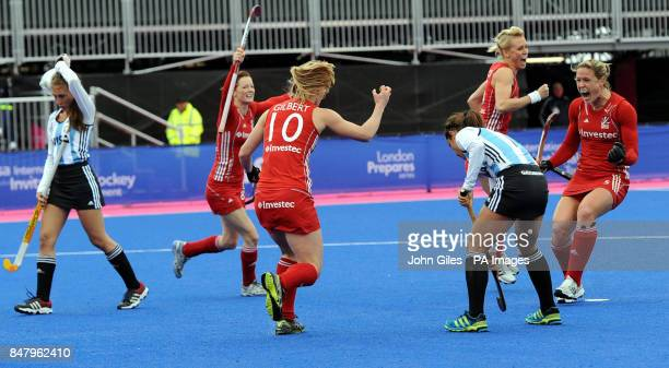 Great Britain's Crista Cullen celebrates her first goal against Argentina during the Visa International Invitational Hockey Tournament at the...