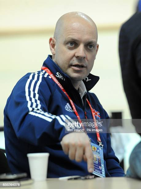 Great Britain's cycling performance director David Brailsford at the BGZ Arena Velodrome in Pruszkow Poland