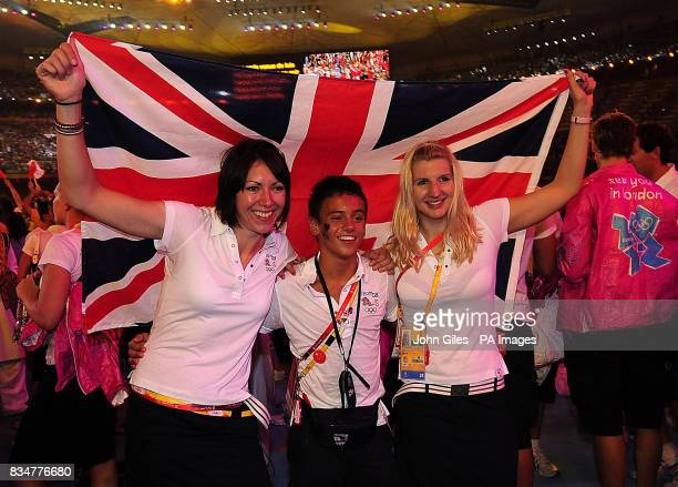 Great Britain's Cyclist Rebecca Romero Diver Tom Daley and Swimmer Rebecca Adlington during the Closing Ceremony at the National Stadium during the...