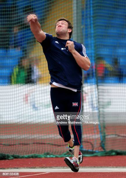 Great Britain's Dan Greaves competes in the men's F42/44 Discuss during the BT Paralympic World Cup at Sport City Manchester