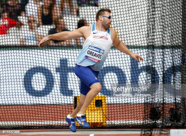 Great Britain's Dan Greaves in action during the Men's Discus F44 Final during day three of the 2017 World Para Athletics Championships at London...