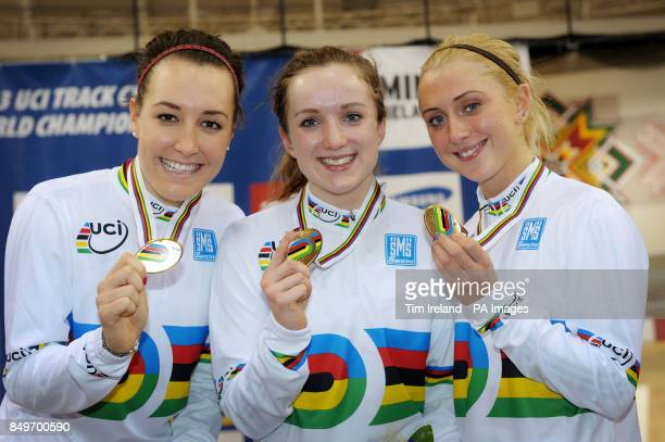 Great Britain's Dani King Elinor Barker and Laura Trott celebrate Gold in the team pursuit on day two of the UCI Track Cycling World Championships at...