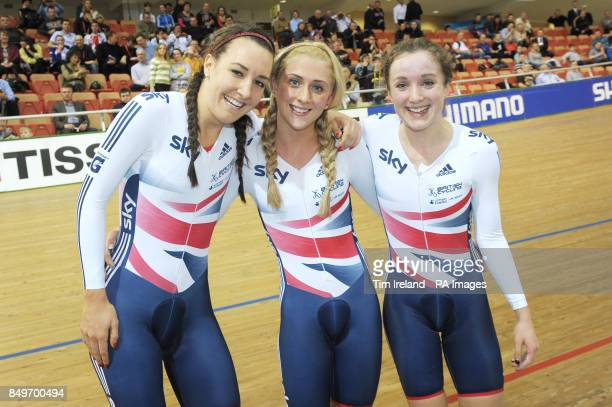 Great Britain's Dani King Laura Trott and Elinor Barker celebrate Gold in the team pursuit on day twe of the UCI Track Cycling World Championships at...