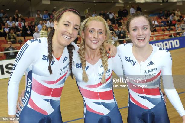 Great Britain's Dani King Laura Trott and Elinor Barker celebrate Gold in the team pursuit on day two of the UCI Track Cycling World Championships at...