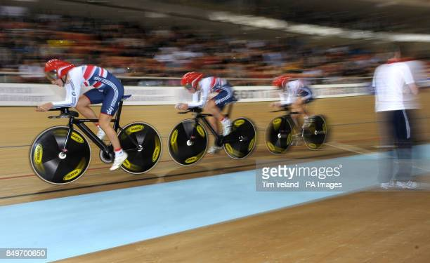 Great Britain's Dani King Laura Trott and Elinor Barker ride to Gold in the team pursuit on day two of the UCI Track Cycling World Championships at...