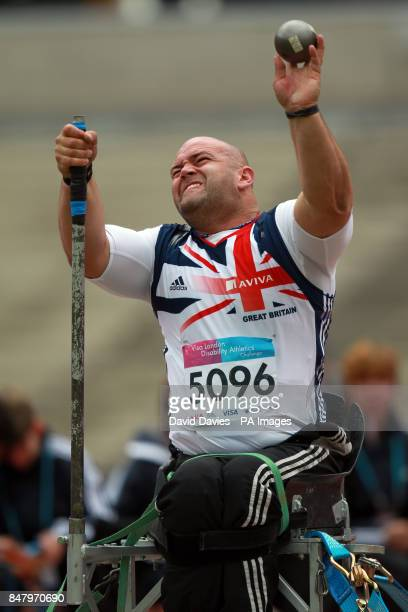 Great Britain's Daniel Nobbs competes in the Men's Shot Put during the London Disability Grand Prix at the Olympic Stadium London