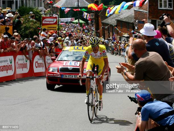 Great Britain's David Millar races through Goudhurst in Kent during the Tour de France Stage One London to Canterbury