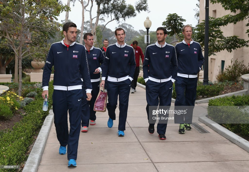Great Britain's Davis Cup team arrive at the draw at Balboa Park Colin Fleming, captain <a gi-track='captionPersonalityLinkClicked' href=/galleries/search?phrase=Leon+Smith+-+Tennis+Coach&family=editorial&specificpeople=12698515 ng-click='$event.stopPropagation()'>Leon Smith</a>,Andy Murray,James Ward and <a gi-track='captionPersonalityLinkClicked' href=/galleries/search?phrase=Dominic+Inglot&family=editorial&specificpeople=7038264 ng-click='$event.stopPropagation()'>Dominic Inglot</a> prior to the Davis Cup World Group first round between the U.S. and Great Britain at PETCO Park on January 30, 2014 in San Diego, California.