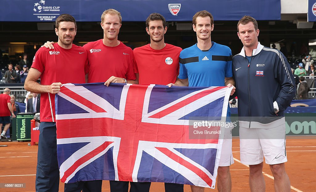 Great Britain's Davis Cup team L-R Colin Fleming,Dominic Inglot,James Ward,Andy Murray and capotain Leon Smith celebrate their 3-1 victory against of the United States during day three of the Davis Cup World Group first round between the U.S. and Great Britain at PETCO Park on February 2, 2014 in San Diego, California.