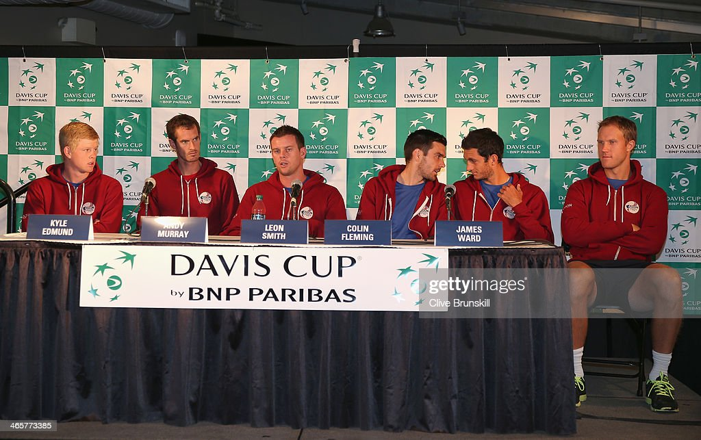 Great Britains Davis Cup team LR Kyle EdmundAndy Murraycaptain Leon SmithColin FlemingJames Ward and Dominic Inglot answer questions from the media...