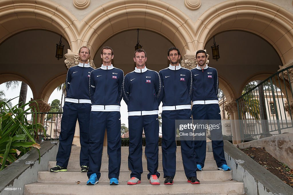 Great Britain's Davis Cup team pose for a team photograph L-R <a gi-track='captionPersonalityLinkClicked' href=/galleries/search?phrase=Dominic+Inglot&family=editorial&specificpeople=7038264 ng-click='$event.stopPropagation()'>Dominic Inglot</a>,Andy Murray,captain <a gi-track='captionPersonalityLinkClicked' href=/galleries/search?phrase=Leon+Smith+-+Tennis+Coach&family=editorial&specificpeople=12698515 ng-click='$event.stopPropagation()'>Leon Smith</a>,James Ward and Colin Fleming after the draw ceremony prior to the Davis Cup World Group first round between the U.S. and Great Britain at PETCO Park on January 30, 2014 in San Diego, California.