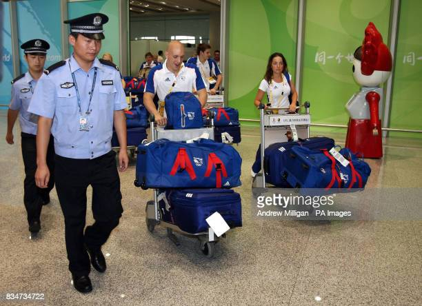 Great Britain's diver Nick RobinsonBaker arrives with team mates at Beijing airport in China