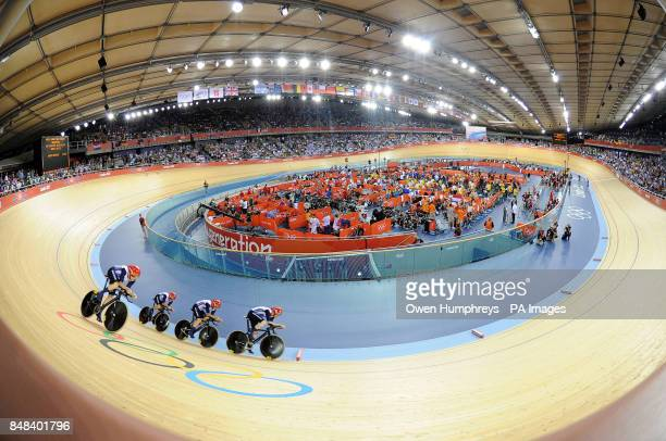 Great Britain's Ed Clancy Geraint Thomas Steven Burke and Peter Kennaugh ride to a World Record in the team pursuit qualifying on the first day of...
