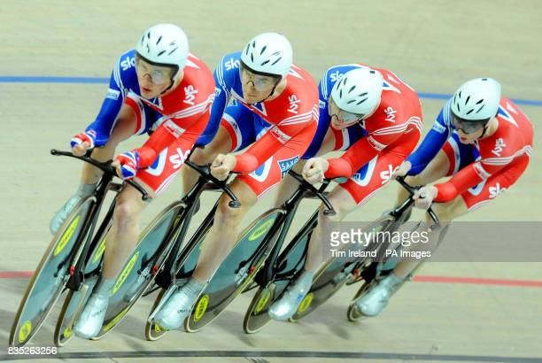 Great Britain's Ed Clancy Steven Burke Peter Kennaugh and Jonny Bellis ride to fourth in the Team Pursuit during the 2009 UCI World Track Cycling...