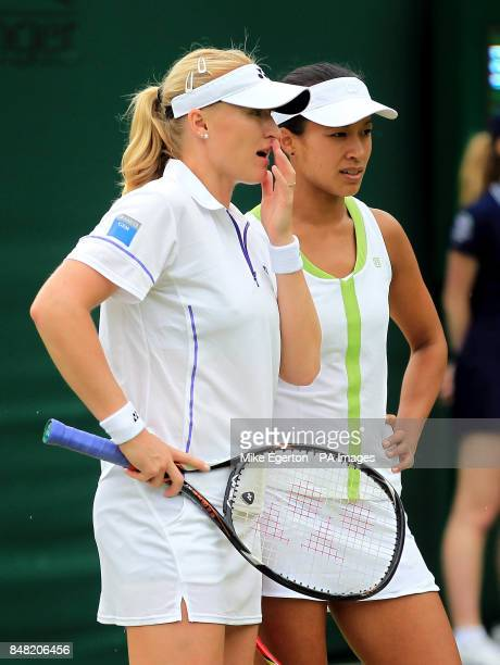 Great Britain's Elena Baltacha and Anne Keothavong during their doubles match against Romania's IrinaCamelia Begu and Monica Niculescu on day three...