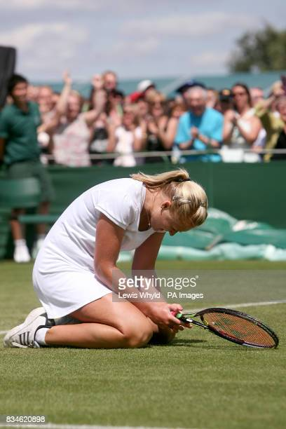 Great Britain's Elena Baltacha celebrates after beating Germany's Angelique Kerber