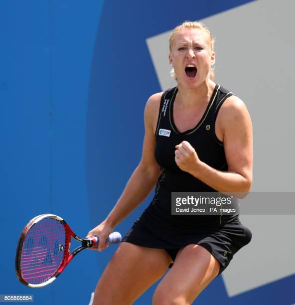 Great Britain's Elena Baltacha celebrates winning a point against Russia's Anastasia Pavlyuchenkova