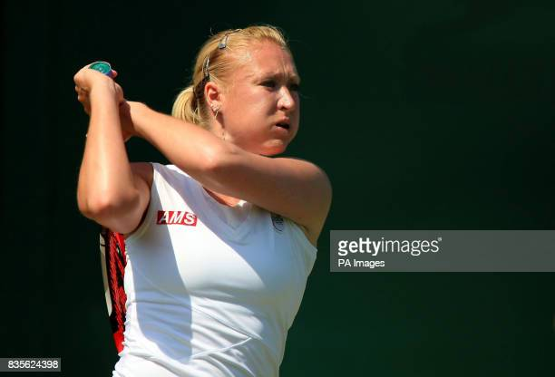 Great Britain's Elena Baltacha in action against Belgium's Kirsten Flipkens during the 2009 Wimbledon Championships at the All England Lawn Tennis...