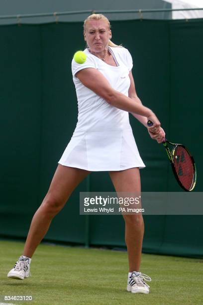 Great Britain's Elena Baltacha in action against Germany's Angelique Kerber