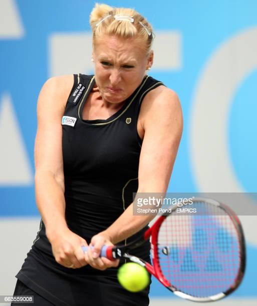 Great Britain's Elena Baltacha in action against Russia's Anastasia Pavlyuchenkova during their second round match