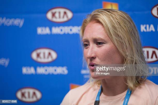 Great Britain's Elena Baltacha reflects on her defeat by France's Amelie Mauresmo in the second round of the women's singles of the Australian Open...