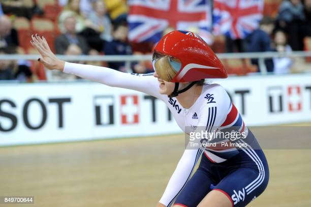 Great Britain's Elinor Barker celebrates Gold in the team pursuit on day two of the UCI Track Cycling World Championships at the Minsk Arena Minsk