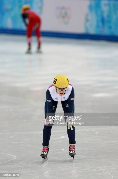 Great Britain's Elise Christie after crashing in her 1000m Short Track Semi Final at the Iceberg Skating Palace during the 2014 Sochi Olympic Games...