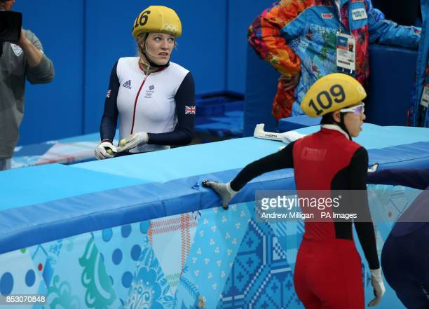 Great Britain's Elise Christie after crashing in her1000m Short Track Semi Final at the Iceberg Skating Palace during the 2014 Sochi Olympic Games in...