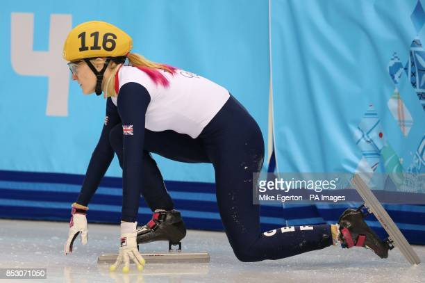 Great Britain's Elise Christie after crashing out of the semi final of the Ladies' 1000m short track speed skating at the Iceberg Skating palace...