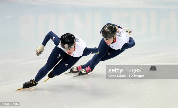 Great Britain's Elise Christie and Charlotte Gilmartin in their Short Track practice session at the iceberg Skating Palace during the 2014 Sochi...