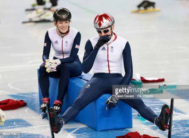 Great Britain's Elise Christie and Jon Eley in their Short Track practice session at the iceberg Skating Palace during the 2014 Sochi Olympic Games...