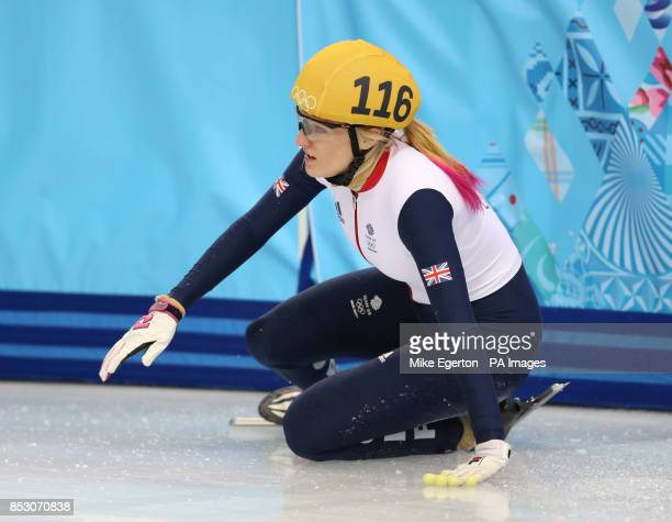 Great Britain's Elise Christie crashes in her1000m Short Track Semi Final at the Iceberg Skating Palace during the 2014 Sochi Olympic Games in Sochi...