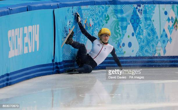 Great Britain's Elise Christie crashes out in her1000m Short Track Semi Final at the Iceberg Skating Palace during the 2014 Sochi Olympic Games in...