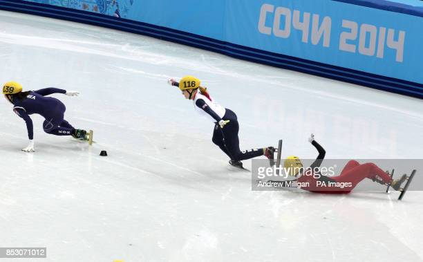 Great Britain's Elise Christie crashing in her1000m Short Track Semi Final at the Iceberg Skating Palace during the 2014 Sochi Olympic Games in Sochi...