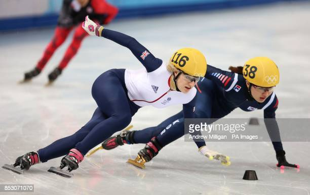Great Britain's Elise Christie in her1000m Short Track Semi Final at the Iceberg Skating Palace during the 2014 Sochi Olympic Games in Sochi Russia